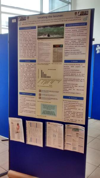 'Locating the Lacunae' poster describing methods of recruiting for hard to reach groups. British Society of Gerontology Annual Conference, July 2015, Newcastle Upon Tyne.